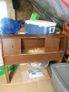 Twin bed frame with a bed end and rails