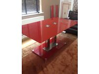 STUNNING!!! Italian red glass dining table + 6 chairs