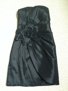 Black Strapless Dress with Accent Flower