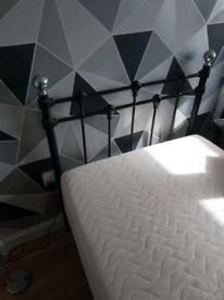 Single bed black and chrome with quality memory foam mattress.