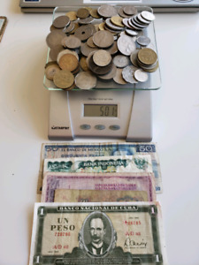 Lot of WorldCoins-50+ Countries-1 Pound/lbs +Bills for sale  Calgary