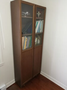IKEA Billy Book Case Bookcase with panel/glass doors, brown, ash