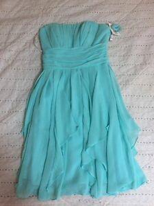 Davids Bridal Light Blue (Spa) Chiffron Bridesmaid Dress size 2