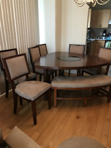 Table set, includes 6 chairs and bench