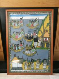 Ethiopian Folk Art / Painting - Framed - Large 90cm x 64cm