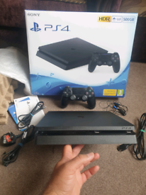 PS4 SLIM Console, 4 Games, Genuine Sony Controller, Cables