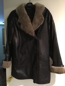 Women's dark brown leather winter coat