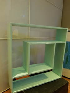 turquoise accent wall shelf
