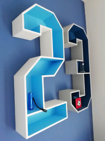 Large wooden 3D number 3 wall shelf - bedroom games room