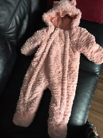 All in one baby girl coat