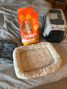 Cat cage, bed, food, treats, blanket & toys