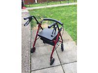 Mobility walker burgundy red