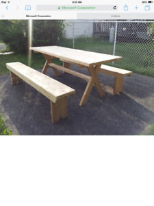 Trestle Style Table and Benches
