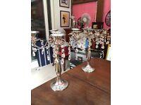 2 metal beaded candelabras