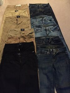 American Eagle men's skinny jeans and khakis.