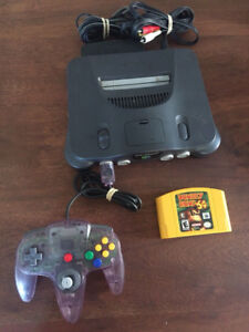 Nintendo 64 Console with Donkey Kong 64 game and controller