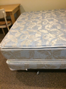 queen size mattress , box spring and metal frame