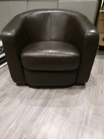 Real Leather Tube Armchair