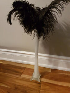 Eiffel Style Vase and Feathers