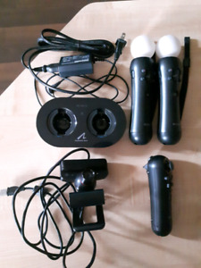 PS Move controllers, camera, and charge station