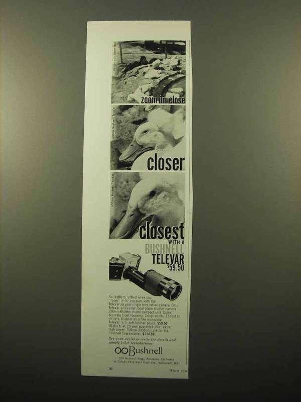 1962 Bushnell TeleVar Lens Ad - Zoom in Close
