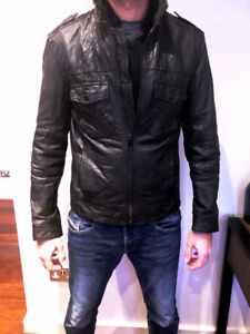 All Saints Grey Shift Leather Bomber, Size M NEW!