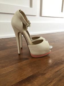 White leather peep toe heels