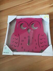 Owl clock brand new