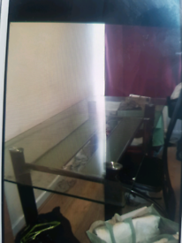Metal/ Glass table and 1 chair