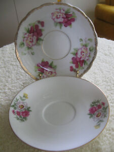 TWO BEAUTIFUL OLD VINTAGE REPLACEMENT SAUCERS ONLY
