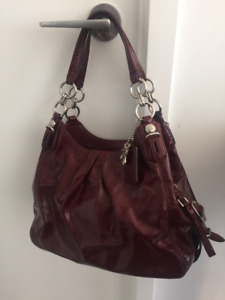 Coach Signature Maggie Shoulder Bag Purse Red Patent Leather