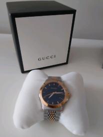Gucci YA126512 G-Timeless Round Two-tone Bracelet Mens Watch