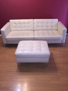 White Leather Couch & Ottoman