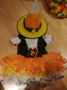 Candy Corn Witch Costume Size 5 to 7 (size small)
