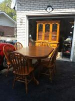 Complete Oak Dining Room Set with Hutch and Buffet