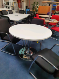 2nd hand round white meeting office table, huge Glasgow Showroom