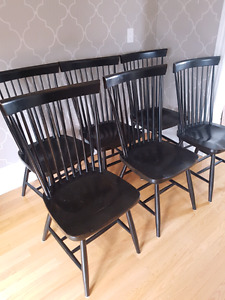 6 wing back wood dining room chairs