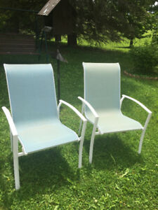 High back patio chairs, light blue.