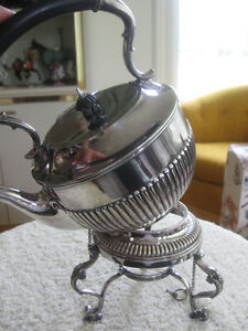 GORGEOUS VINTAGE SILVER PLATE TILTING TEA POT with WARMER STAN