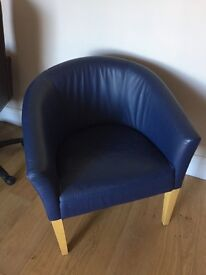 2 Blue leather chairs