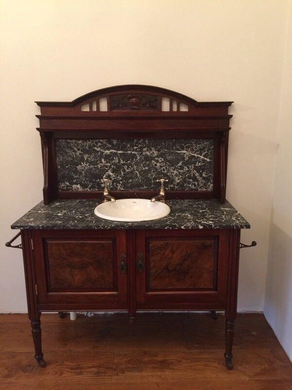 Antique Victorian Washstand Vanity Unit Period Basin