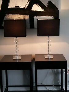 TABLE LAMPS - BLACK SHADE/GLASS BASE