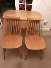 Vintage Dinette formica round table & 2 Ercol style stick back chairs