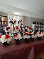 Wedding Centerpieces - Red/White/Black 15 total asking $500 obo