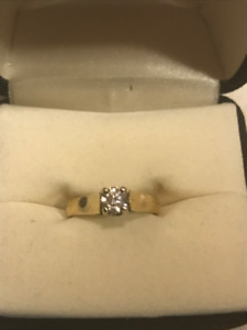 14kt Yellow & White Gold Solitaire Engagement Ring