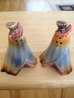 Vintage Native Teepee Salt And Pepper Shakers Japan