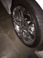 "20"" lexani wheels/ with rubber *mint*"