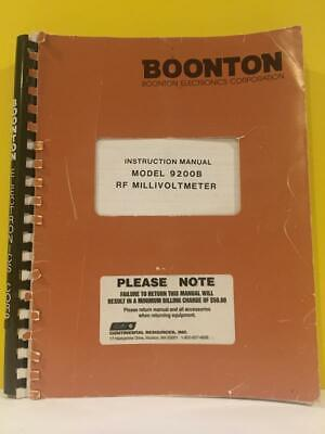 Boonton 98201500a Model 9200b Rf Millivoltmeter Instruction Manual