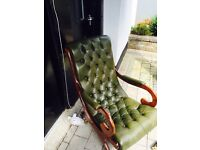 Chesterfield leather slipper chair