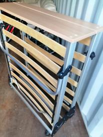 Foldable single bed frame.
